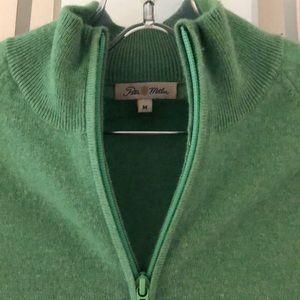 Kelly green cashmere Peter Millar zip cardigan